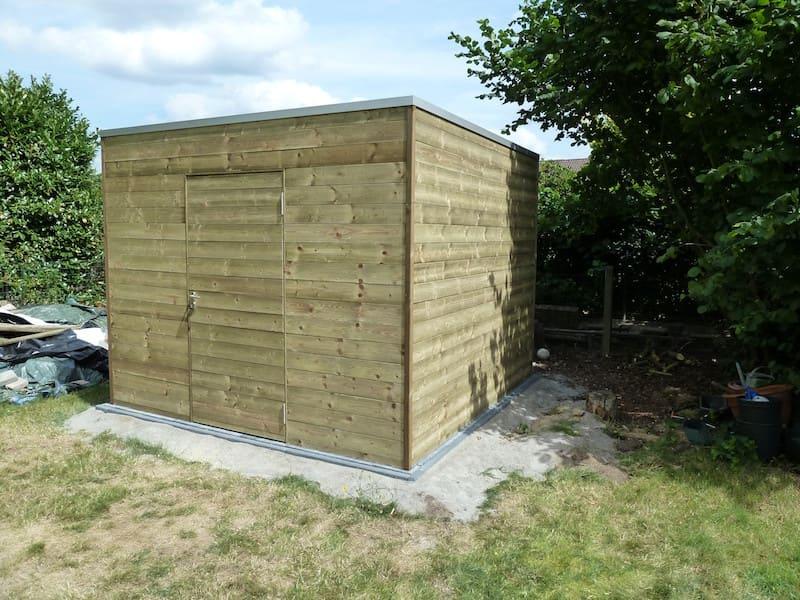 Tuinhuis horizontale klikplanken in geïmpregneerd hout