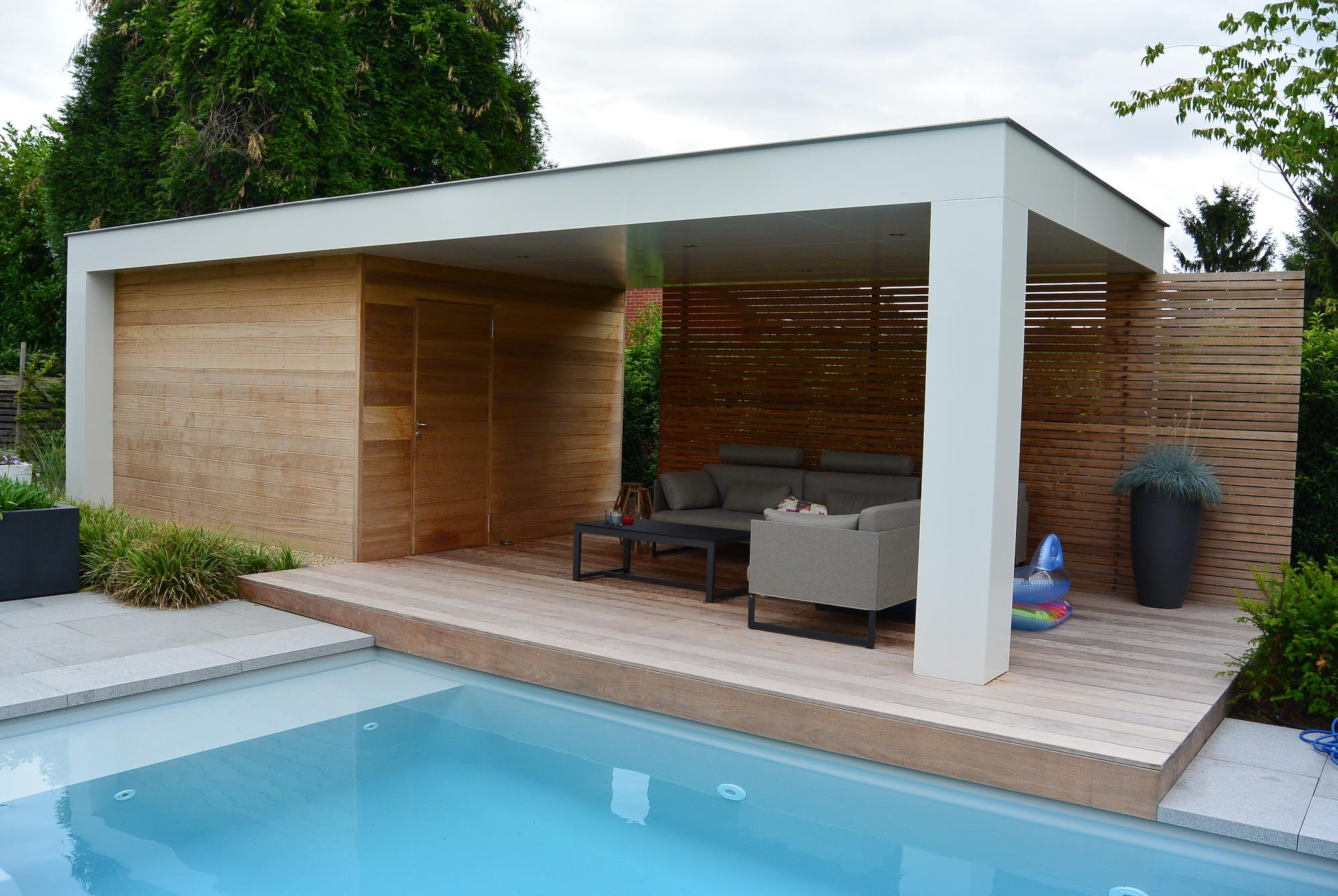 Overdekt terras met bijgebouw claeys houtconstructies